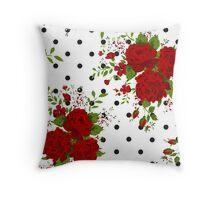 Pattern with abstract red flowers. Rose vintage background Throw Pillow