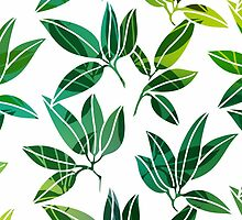Pattern with abstract palm leaves by LourdelKaLou