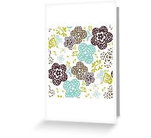 Seamless floral pattern with cute flowers on a white background Greeting Card
