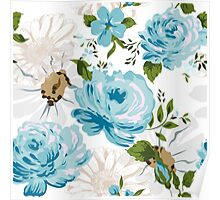 Beautiful blue roses pattern on a white background.  Poster