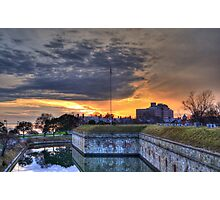 Sunset View of Moat at Fort Monroe Photographic Print