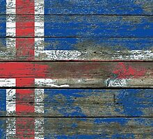 Flag of Iceland on Rough Wood Boards Effect by Jeff Bartels