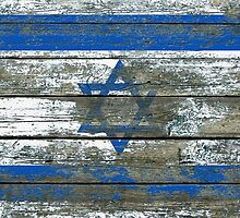 Flag of Israel on Rough Wood Boards Effect by Jeff Bartels