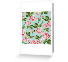 Pink and blue Floral Pattern Greeting Card