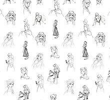 Sketched Princesses by lunalalonde