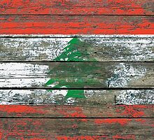 Flag of Lebanon on Rough Wood Boards Effect by Jeff Bartels