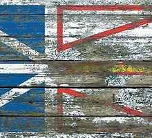Flag of Newfoundland on Rough Wood Boards Effect by Jeff Bartels
