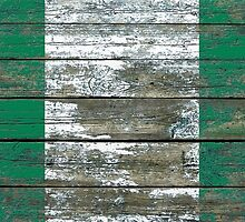 Flag of Nigeria on Rough Wood Boards Effect by Jeff Bartels