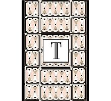 1920s Pink Champagne Gatsby Monogram letter T Photographic Print