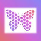 Peach Pink Purple Butterfly in Hexagonal Pattern by Shelley Neff