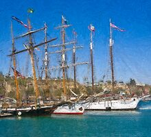 Impasto stylized photo of theTall Ship Exy Johnson, Tall Ship Lynx, Tall Ship Irving Johnson, and Tall Ship American Pride in Dana Point Harbor, CA US. by NaturaLight