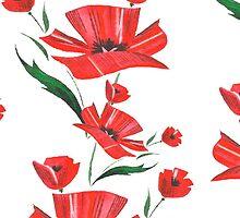 Stylized Poppy flowers illustration by LourdelKaLou