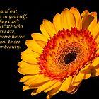Inspirational Yellow Gerbera Daisy  by daphsam