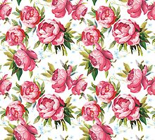 Vintage Pink Peony Rose Floral Pattern by sale