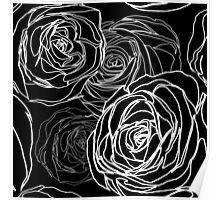 Seamless black rose pattern Poster