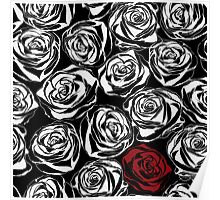 Seamless pattern with black roses flowers.  Poster