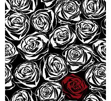 Seamless pattern with black roses flowers.  Photographic Print