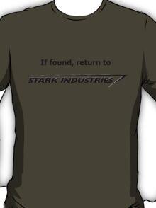 If found, return to Stark Industries T-Shirt