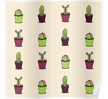 Cacti hand drawn seamless repeat pattern Poster