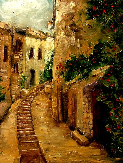 A Street In Uzes by Monica Vanzant