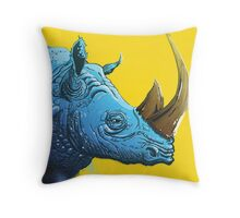 Blue Rhino on Yellow Background Throw Pillow