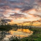 Sunset over Goosey Bridge by James  Key