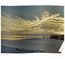 Evening clouds over the snow covered field Poster