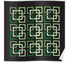 Squares In Green Variations And White Poster