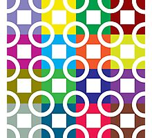 White Squares And Circles On Colourful Background Photographic Print