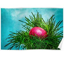 Red Easter egg in the grass Poster