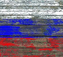 Flag of Russia on Rough Wood Boards Effect by Jeff Bartels
