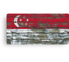 Flag of Singapore on Rough Wood Boards Effect Canvas Print