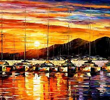 Italy, Naples Harbor - Vesuvius — Buy Now Link - www.etsy.com/listing/224558486 by Leonid  Afremov