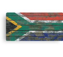 Flag of South Africa on Rough Wood Boards Effect Canvas Print