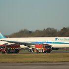 Fire tenders alongside First Choice Boeing 767 by unozig