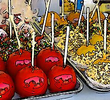 line art candied apples by hardleyphair