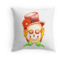 top hat tattoo style skull Throw Pillow