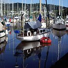 Boat reflections in Marina by Karen Doidge
