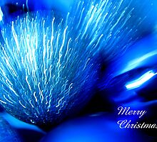 Blue Christmas Abstract Card by Kathie Nichols