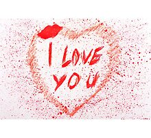 I love you heart stained Photographic Print