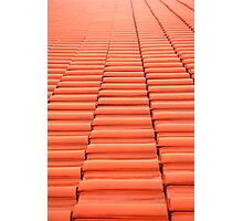 Overlapping red new tiles roof Photographic Print