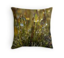 Dewdrops on Moss Throw Pillow