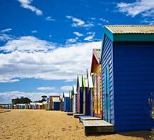 Brighton bathing boxes and yacht club by Vicki Moritz