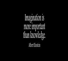 Albert Einstein; Imagination is more important than knowledge. White on Black by TOM HILL - Designer