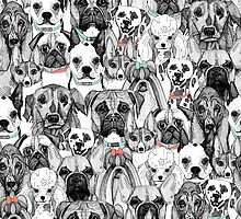just dogs coral mint by Sharon Turner