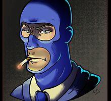 Blue Spy! Print by Nara Jones