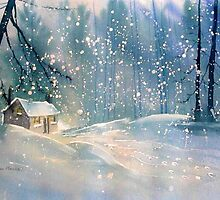 Cottage in the Snow by GlennMarshall