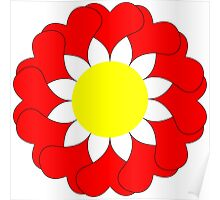 Red flower with heart petals. Poster