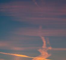 Evening aeroplane contrails sunset Sticker