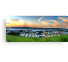 Glastonbury Festival at Sunset Panorama with Tipis Canvas Print